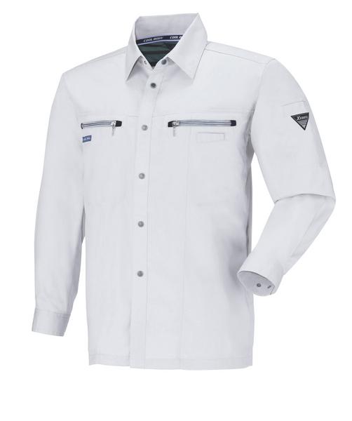 XEB9653 長袖シャツ[社名刺繍無料] 206/クールグレー