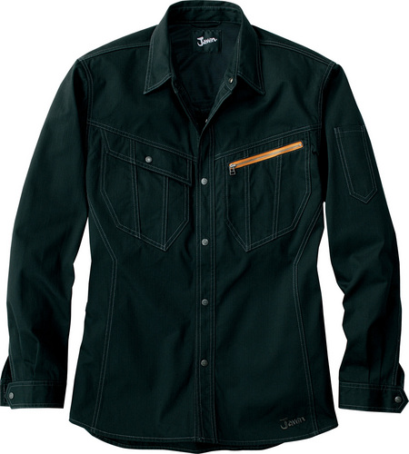 DESK51904 Jawin長袖シャツ[社名刺繍無料] 044/ブラック