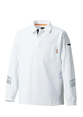 TAKA_TU-N011 長袖ポロ 1/ホワイト