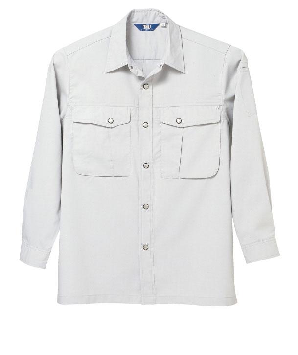 TAKA_TU8007 長袖シャツ[社名刺繍無料] 03/シルバー