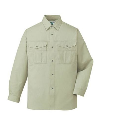 DESK46104_1 エコ長袖シャツ[社名刺繍無料] 017/アイボリー