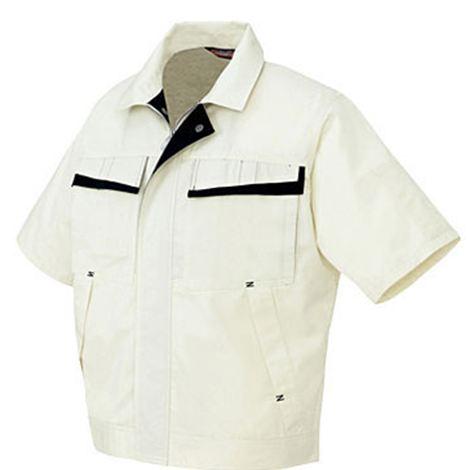AZ-5571 半袖ブルゾン(配色)[社名刺繍無料] 001/アイボリー×ディープネイビー