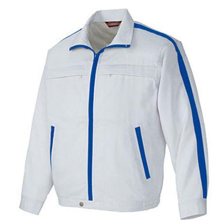 AZ-5580 長袖サマーブルゾン(ライン)[社名刺繍無料] 003/シルバーグレー×ロイヤルブルー