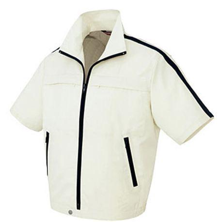 AZ-5581 半袖ブルゾン(ライン)[社名刺繍無料] 001/アイボリー×ディープネービー