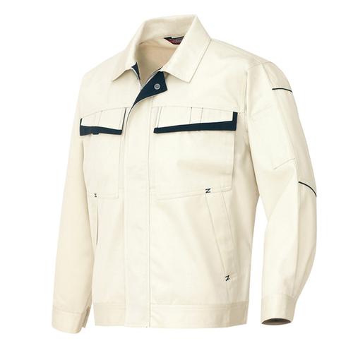 AZ-6570 ※長袖ブルゾン(配色)[社名刺繍無料] 001/アイボリー×ディープネイビー