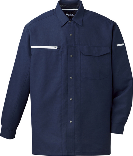 DESK86304 吸汗速乾長袖シャツ[社名刺繍無料] 011/ネービー