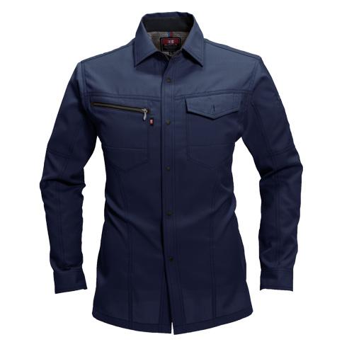 BURTLE7093 長袖シャツ[社名刺繍無料] 3/ネイビー
