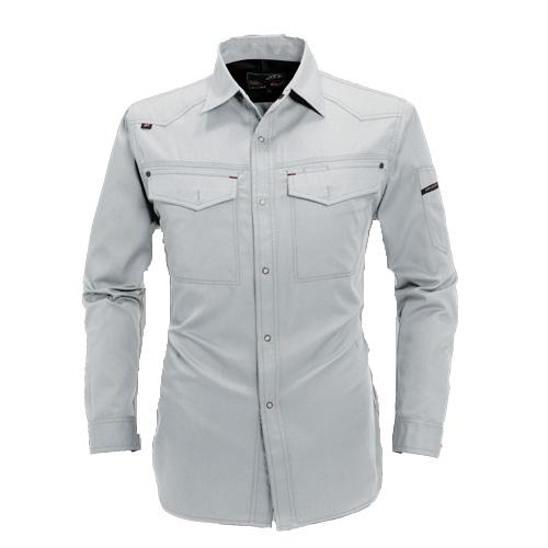 BURTLE1103 長袖シャツ[社名刺繍無料] 5/シルバー