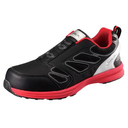 SIMON-LS417 シモン安全靴 プロテクティブスニーカー(スリッポン)  ブラック/レッド