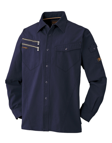 ATACKBASE-6101-6 長袖シャツ[社名刺繍無料] 02/ネイビー