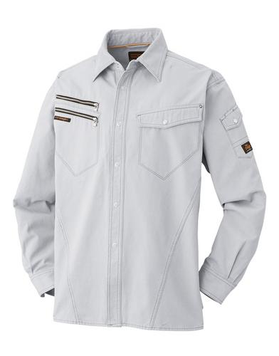 ATACKBASE-6101-6 長袖シャツ[社名刺繍無料] 07/グレー