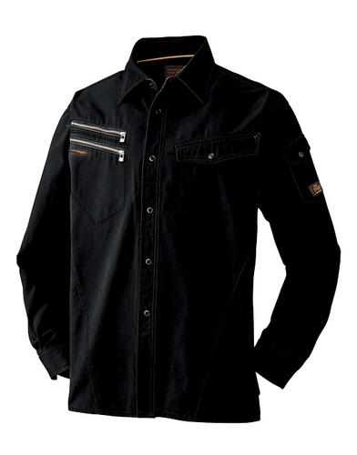 ATACKBASE-6101-6 長袖シャツ[社名刺繍無料] 11/ブラック