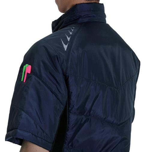 BURTLE7316 半袖防寒ブルゾン リフレクタープリント(左)</br> 袖ペンポケット(左)</br> (意匠登録中)