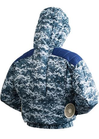 TEKKIN-3GARA 剛肩フードタイプブルゾン<柄物>[社名刺繍無料] デジタル迷彩ブルー