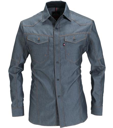 BURTLE1515 長袖シャツ[社名刺繍無料] 45/インディゴ(ヘリンボーン)