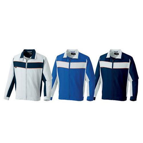 AZ-3630 長袖ブルゾン[社名刺繍無料] (左から)ライトグレー×ディプネイビー、ロイヤルブルー×ライトグレー、ディープネイビー×ライトグレー
