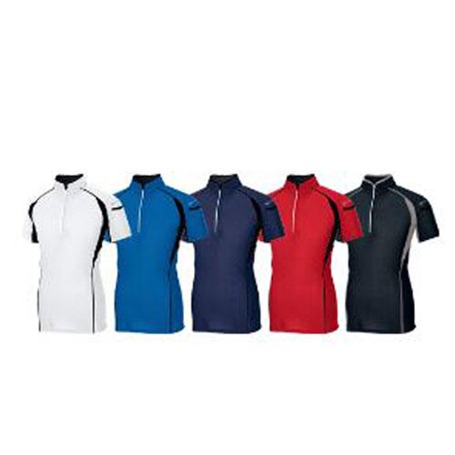AZ-551032 半袖ZIPポロシャツ (左から)001/ホワイト、006/ブルー、008/ネイビー、009/レッド、010/ブラック