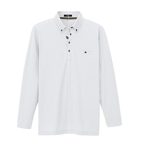 AZ-7665 長袖ポロシャツ 001/ホワイト