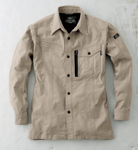 CUC8551 DOGMAN長袖シャツ[社名刺繍無料] 01/ベージュ