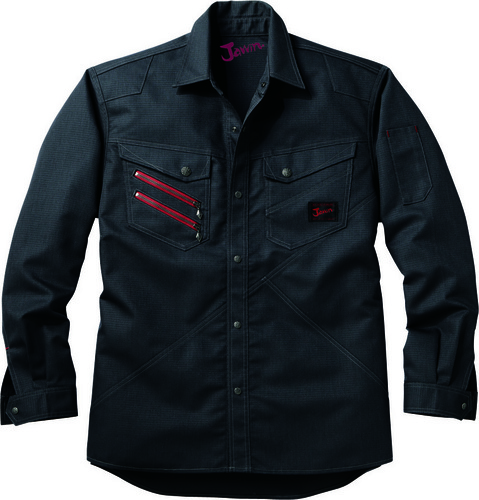 DESK52304 Jawin長袖シャツ[社名刺繍無料] 131/シックブラック