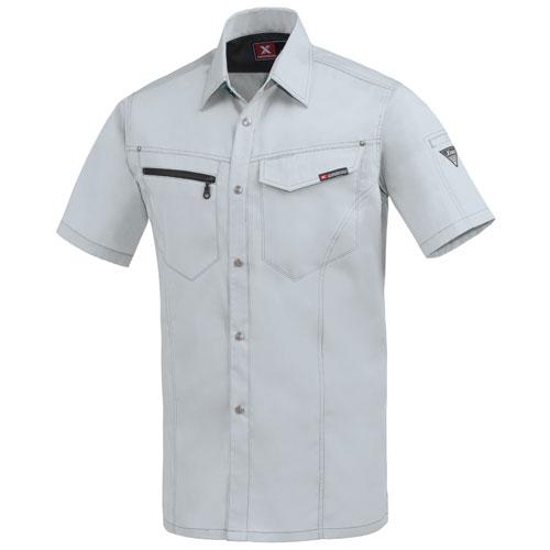 XEB1632 半袖シャツ[社名刺繍無料] 22/シルバーグレー
