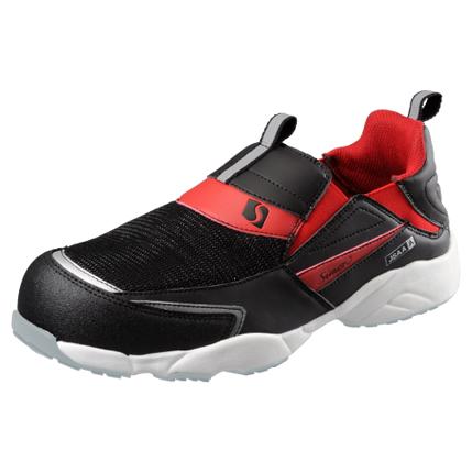 SIMON-KA215BR シモン安全靴 軽技A+シリーズ KA215 黒/赤 スリッポン KA215黒/赤