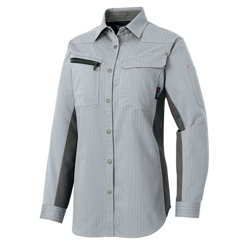 AZ-30645 レディース長袖シャツ[社名刺繍無料] 003/シルバーグレー