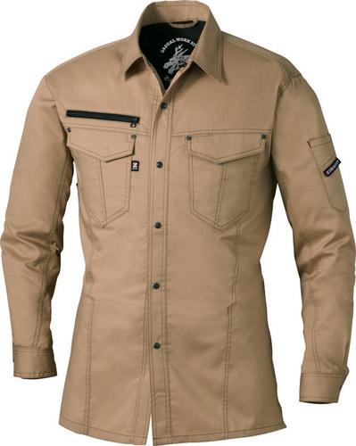 DESK75004_1 Z-DRAGON ストレッチ長袖シャツ[社名刺繍無料] 134/キャメル