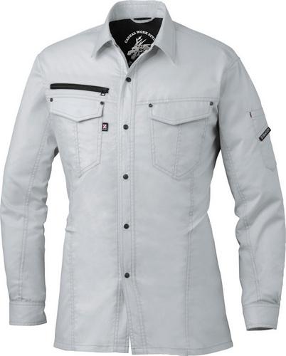DESK75004_1 Z-DRAGON ストレッチ長袖シャツ[社名刺繍無料] 036/シルバー
