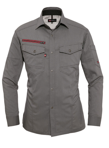 BURTLE7045_1 長袖シャツ[社名刺繍無料] 59/オリーブグレー