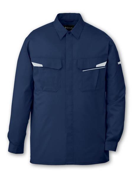DESK85604_1 製品制電ストレッチ長袖シャツ[社名刺繍無料]