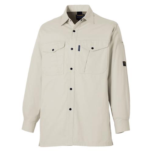 TAKA_LB-1122 国産綿100% 長袖シャツ(オールシーズン薄地)[社名刺繍無料] 3/ストーングレー