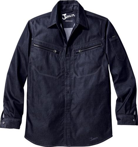 DESK56504 Jawinストレッチ長袖シャツ[社名刺繍無料] 146/ブライトネービー