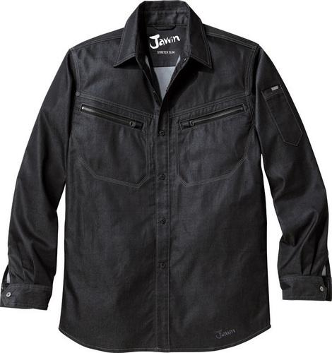 DESK56504 Jawinストレッチ長袖シャツ[社名刺繍無料] 145/シャイニーブラック