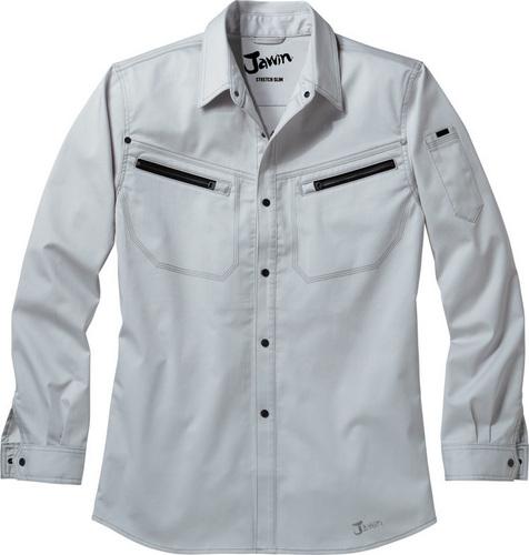 DESK56504 Jawinストレッチ長袖シャツ[社名刺繍無料] 147/パールシルバー