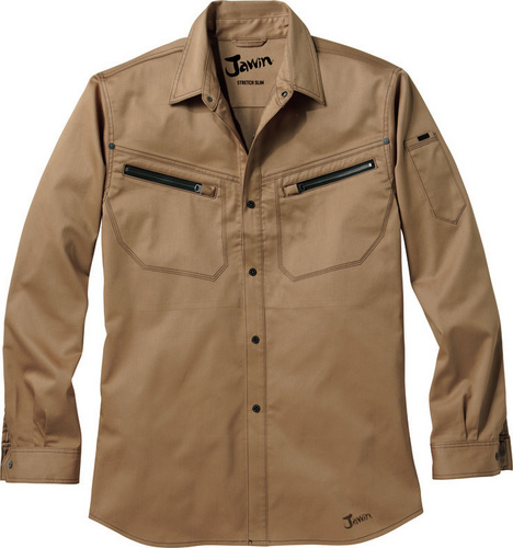 DESK56504 Jawinストレッチ長袖シャツ[社名刺繍無料] 148/キャメルゴールド