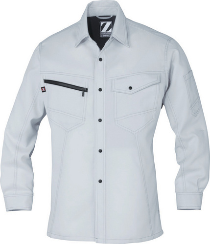 DESK75304 Z-DRAGON 製品制電長袖シャツ[社名刺繍無料] 036/シルバー