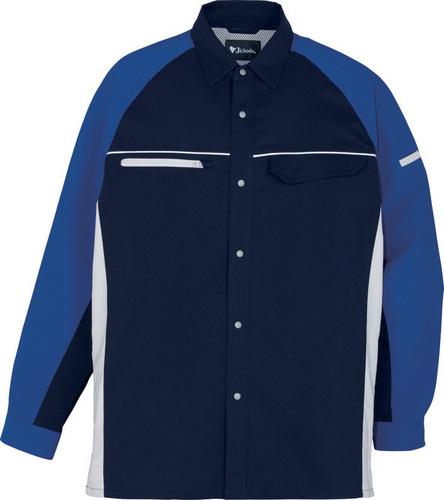 DESK86804 製品制電ストレッチ長袖シャツ[社名刺繍無料] 011/ネービー
