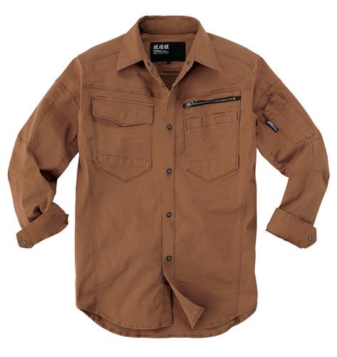 XEB2273 長袖シャツ[社名刺繍無料] 58/ウォルナッツ