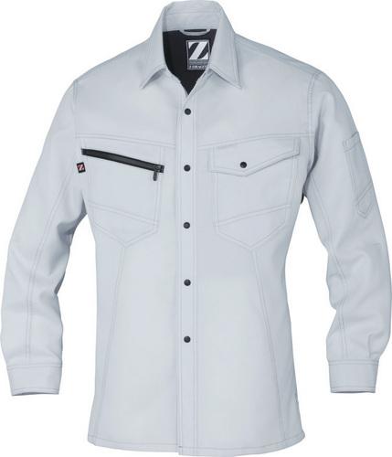 DESK75304_1 Z-DRAGON 製品制電長袖シャツ[社名刺繍無料] 036/シルバー