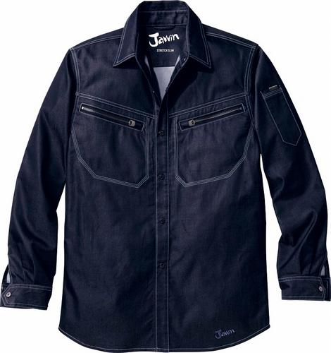 DESK52504 Jawinストレッチ長袖シャツ[社名刺繍無料] 146/ブライトネービー