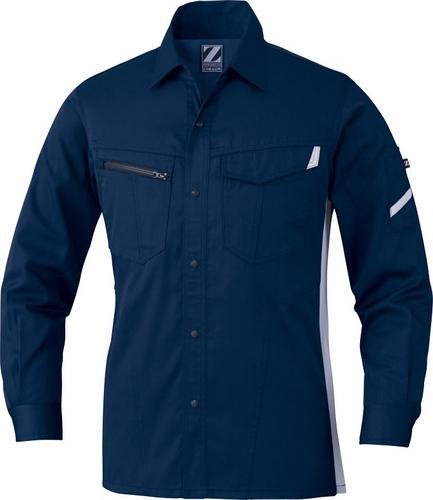 DESK75504 Z-DRAGON製品静電長袖シャツ[社名刺繍無料] 011/ネービー