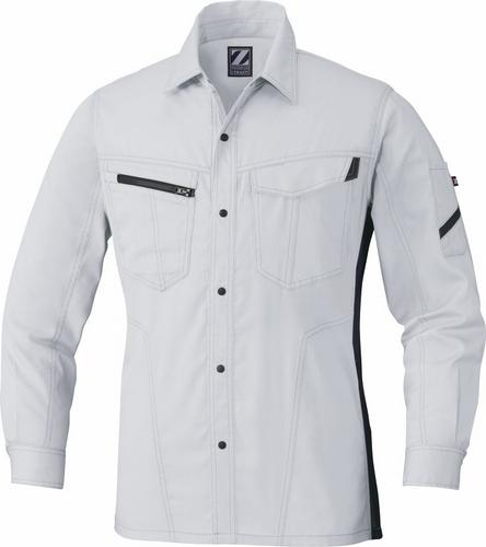 DESK75504 Z-DRAGON製品静電長袖シャツ[社名刺繍無料] 036/シルバー