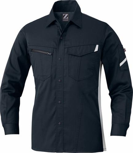 DESK75504 Z-DRAGON製品静電長袖シャツ[社名刺繍無料] 131/シックブラック