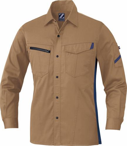 DESK75504 Z-DRAGON製品静電長袖シャツ[社名刺繍無料] 134/キャメル