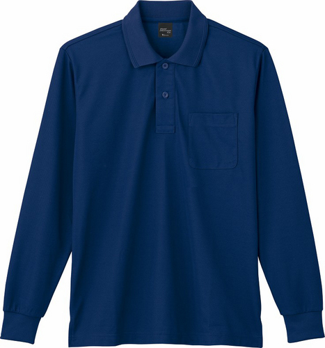 DESK85864 吸汗速乾長袖ポロシャツ 011/ネービー