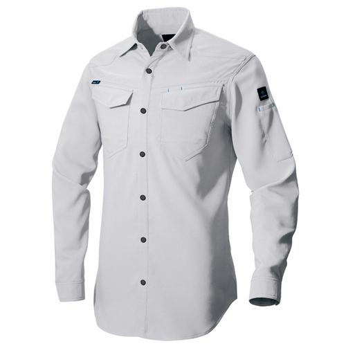 AZ-2935 長袖シャツ(男女兼用)[社名刺繍無料] 003/シルバーグレー