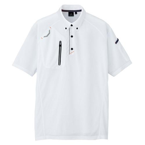 AZ-10605 半袖ボタンダウンポロシャツ(男女兼用) 001/ホワイト
