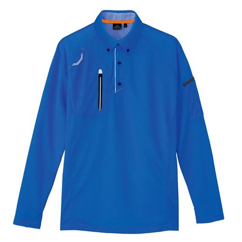AZ-10604 長袖ボタンダウンポロシャツ(男女兼用) 006/ロイヤルブルー