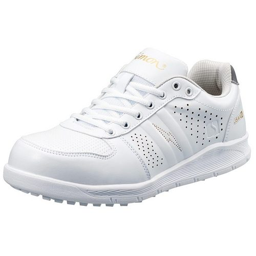 シモン安全靴 NS611 白静電 プロスニーカー(紐)